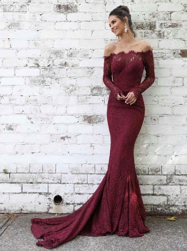 Mermaid Off-the-Shoulder Burgundy Lace Prom Party Dress with Long Sleeves