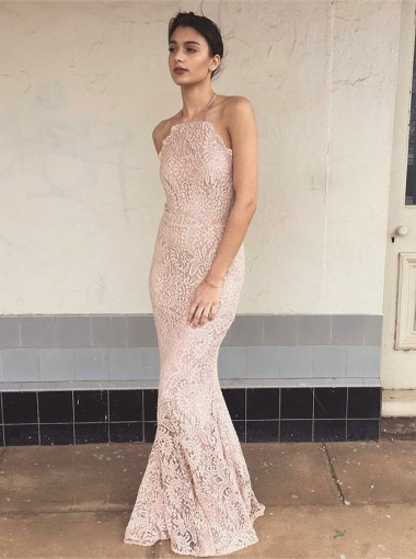 Mermaid Halter Floor Length Pink Lace Prom Evening Dress