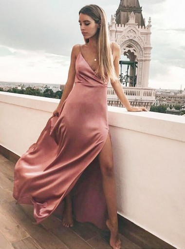 Sheath V-Neck Floor Length Pink Satin Prom Party Dress with Split