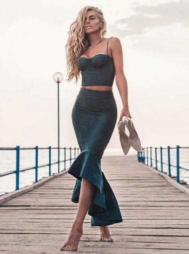 Two Piece Mermaid Spaghetti Straps Dark Green Prom Party Dress