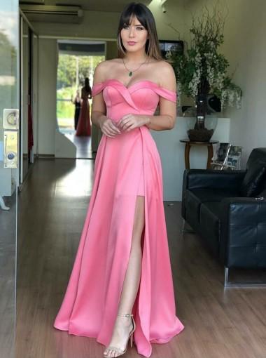 A-Line Off-the-Shoulder Pink Satin Prom Dress with Split