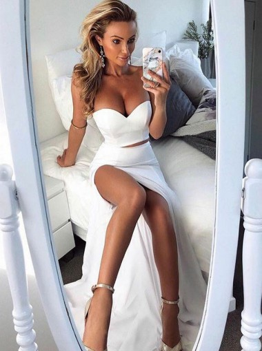 Two Piece Sweetheart Sleeveless White Prom Party Dress with Split