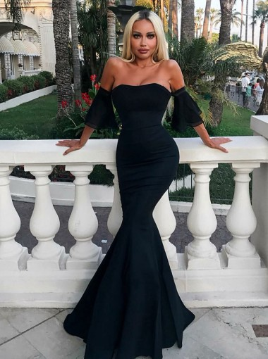 Mermaid Strapless Floor Length Black Satin Evening Prom Dress