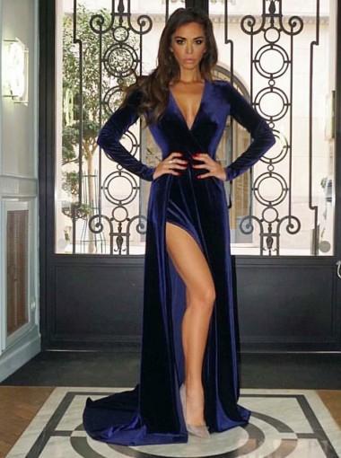 A-Line V-Neck Sweep Train Blue Velvet Prom Evening Dress with Split