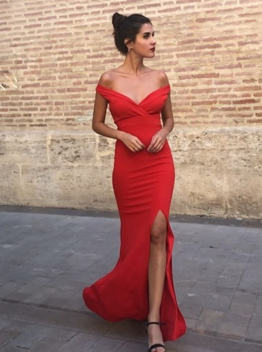 Sheath Off-the-Shoulder Floor Length Red Prom Party Dress with Split