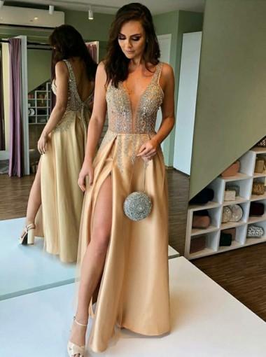 Champagne V-neck Backless Evening Dress Long Prom Dress