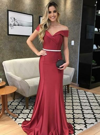 Modest Mermaid Off Shoulder Burgundy Sweep Train Prom Evening Dress with Belt