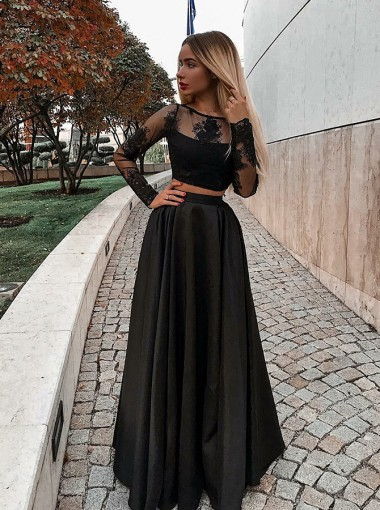 Modest Two Pieces Long Sleeves Black Prom Dress with Appliques