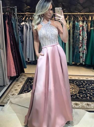 Sparkle Halter Pink Backless Prom Dress with Pockets