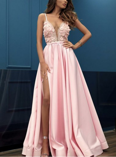 Charming Pink V-neck Sleeveless Split Prom Party Dress with Appliques