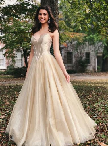 Elegant Sweetheart Light Champagne Prom Evening Dress