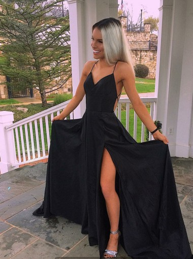 Timeless Black Split Spaghetti Straps Prom Party Dress