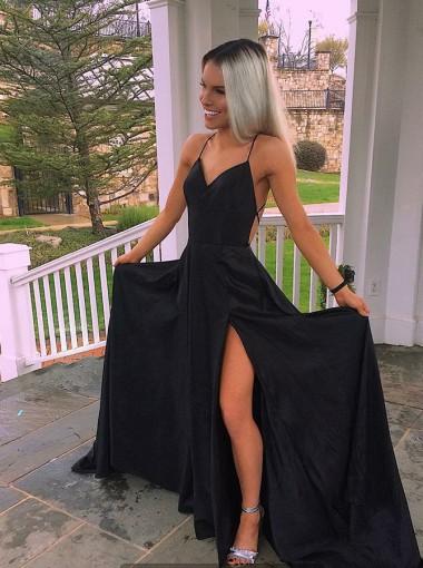 Timeless Black Split Spaghetti Straps Prom Party Dress