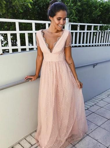 Glamour V-neck Pink Short Sleeves Floor-Length Lace Prom Evening Dress