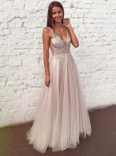 Generous V-neck Sleeveless Grey Floor-Length Prom Evening Dress with Appliques Beaded