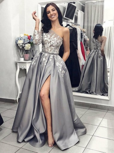 Luxurious One Shoulder Long Sleeves Grey Split Prom Dress with Appliques