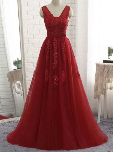 Timeless Red V-neck Sleeveless Sweep Train Backless Prom Evening Dress