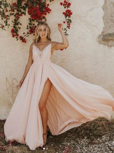 Modest V-neck Sleeveless Split Pink Backless Floor-Length Prom Evening Dress