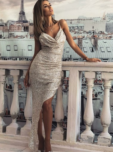 Sexy Spaghetti Straps Sliver Split Prom Evening Dress