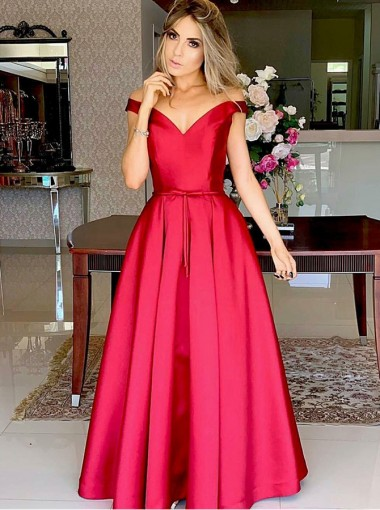 Formal Off Shoulder Red Long Satin Prom Evening Party Dress with Belt