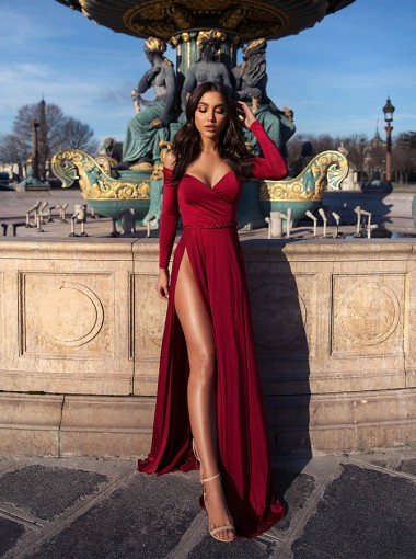Charming Off Shoulder Long Sleeves Split Burgundy Prom Evening Party Dress