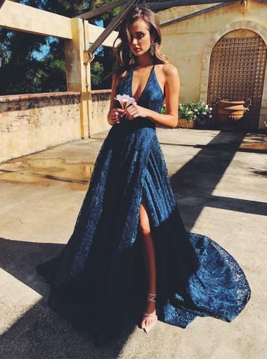 Elegant Halter Sleeveless Split Sweep Train Navy Blue Lace Sweep Train Prom Evening Dress