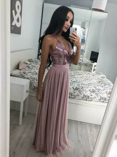 A-line V-Neck Sleeveless Light Purple Chiffon Floor-Length Prom Evening Dress