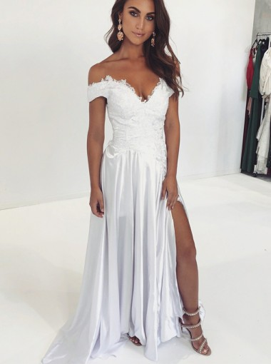 Chic A-Line Off Shoulder Split White Floor-Length Prom Evening Party Dress with Appliques