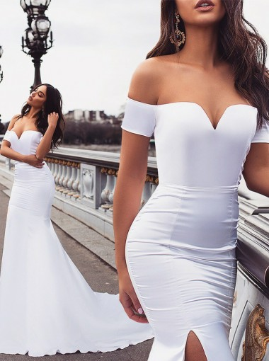 Simple Mermaid Off Shoulder White Sweep Train Split Prom Evening Party Dress