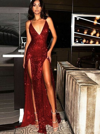Elegant Spaghetti Straps Tight Split Dark Red Sequined Prom Evening Party Dresses