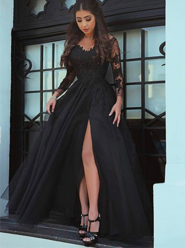 Modest Black V-neck Long Sleeves Leg High Split Prom Evening Dresses with Appliques
