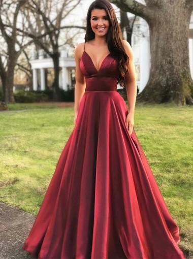 A-line V-neck Spaghetti Straps Floor-Length Burgundy Prom Party Dresses