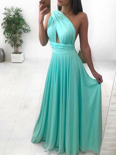 Modest A-Line One Shoulder Mint Floor-Length Ruched Prom Evening Dress