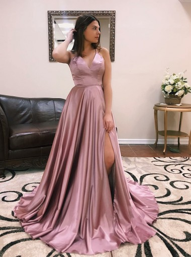 Modest V-neck Sleeveless High Leg Split Sweep Train Cross Back Prom Dresses