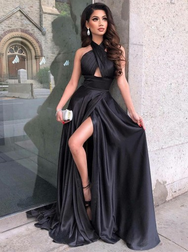 Fancy Black Criss-Cross Neck Split Front Sleeveless Floor-Length Prom Party Dress
