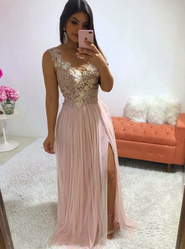 Elegant Illusion Neck Pink Split Sleeveless Prom Party Dress with Appliques Pearls