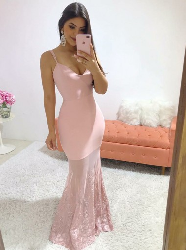 Mermaid V-neck Sleeveless Pink Formal Prom Evening Dress with Lace Sweep Train