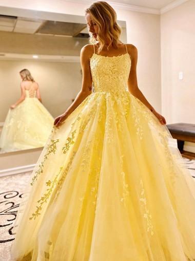 Daffodil Long Prom Dress with Appliques Princess Formal Dress