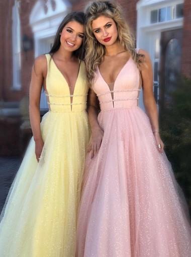Glitter A-Line V-neck Long Yellow Prom Dress Sleeveless Evening Dress