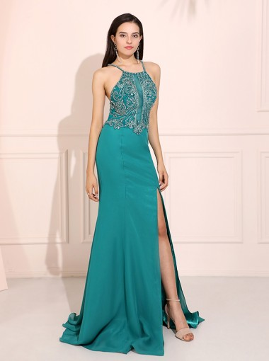 Turquoise Mermaid Spaghetti Straps Long Prom Dress Backless Evening Dress