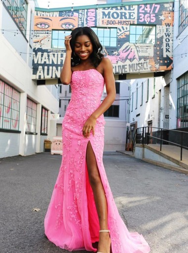 Sheath Strapless Pink Long Prom Dress Split with Appliques