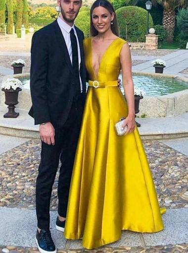 Deep V-neck Yellow Long Prom Dress Sleeveless Satin Evening Dress