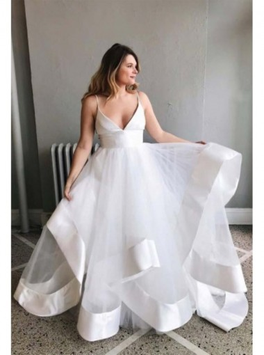 A Line V-neck Floor Length White Organza Wedding Dress with Ruffles