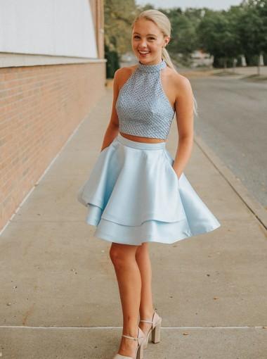 Two Piece Halter Criss-Cross Blue Homecoming Dress