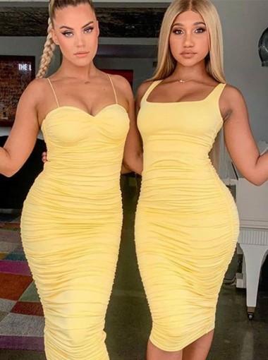 Yellow Tight Sexy Bodycon Dress