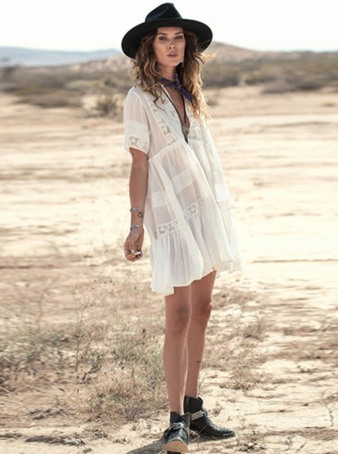 V-Neck Short Sleeves White Flowy Boho Dress with Lace