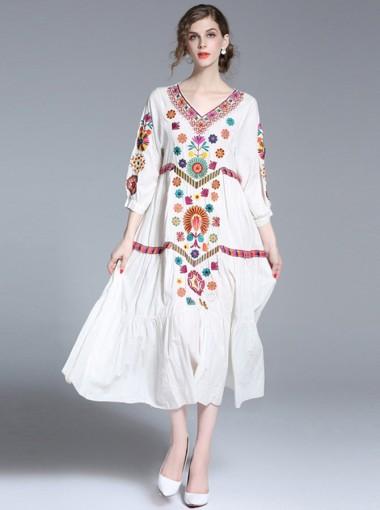 V-Neck 3/4 Sleeves White Embroidery Boho Maxi Dress