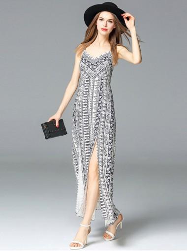 Spaghetti Straps High Side Slit Vretical Stripe Boho Dress