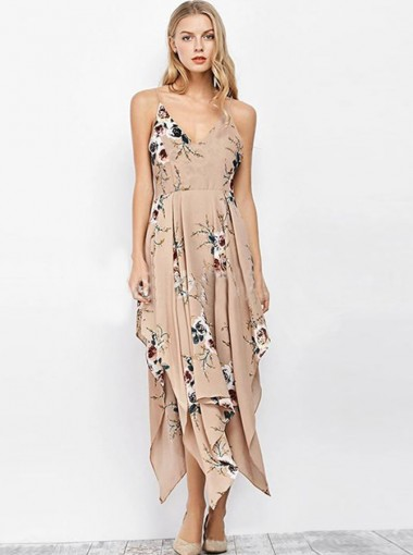 Sexy Spaghetti Criss-Cross Straps Asymmtrical Floral Boho Dress