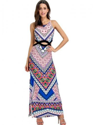 Round Neck Open Waist Geomrtery Printed Boho Dress